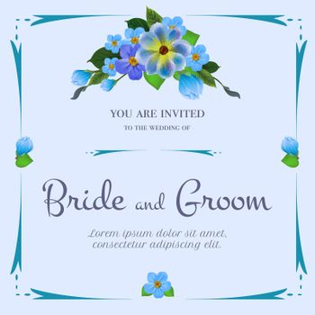 Wedding invitation design with bunch of blue flowers