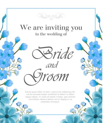 Wedding invitation design with blue frame and forget me nots