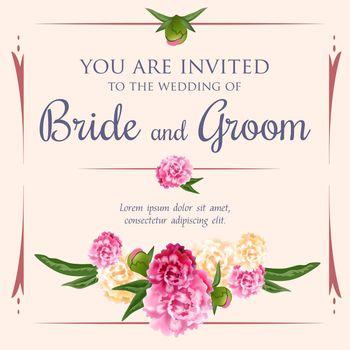 Wedding invitation design with bunch of peonies