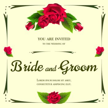 Wedding invitation design with bunch of roses