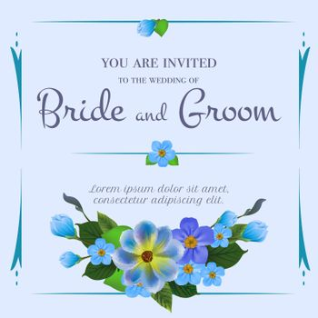 Wedding invitation design with forget me nots
