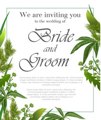 Wedding invitation design with fur branches and green leaves