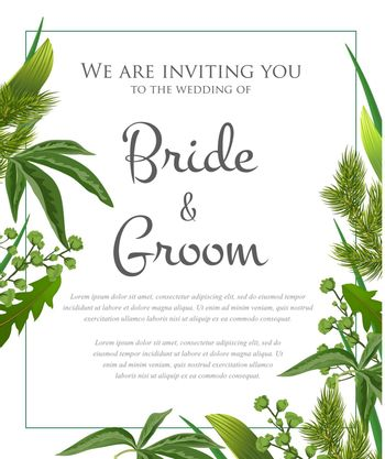 Wedding invitation design with green leaves and fur branches