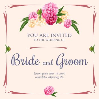 Wedding invitation design with peonies and frame