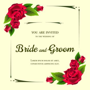 Wedding invitation design with red roses