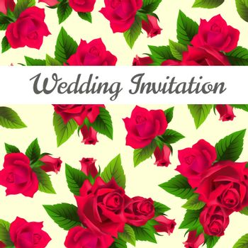 Wedding invitation design with red roses and leaves