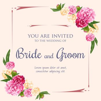 Wedding invitation design with pink and white peonies