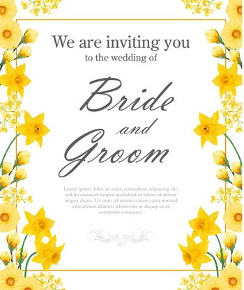 Wedding invitation design with yellow daffodils and gerberas