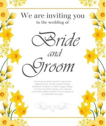 Wedding invitation design with yellow narcissuses and gerberas