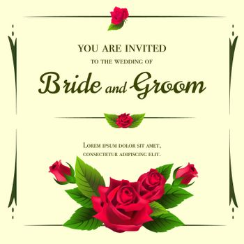 Wedding invitation template with red roses