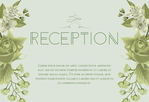 Wedding reception card design with blossoms