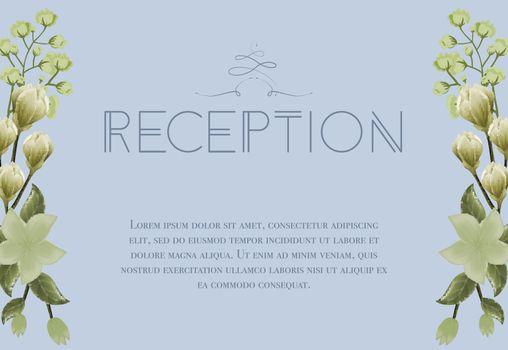 Wedding reception card design with snowdrops