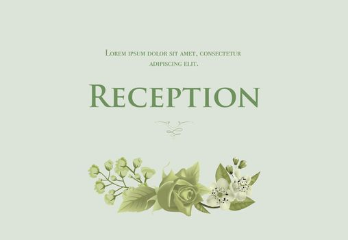 Wedding reception card template with blossom