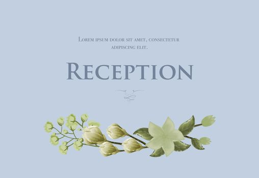 Wedding reception card template with snowdrops