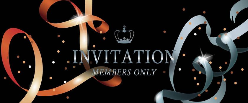Invitation members only banner design with shining ribbons