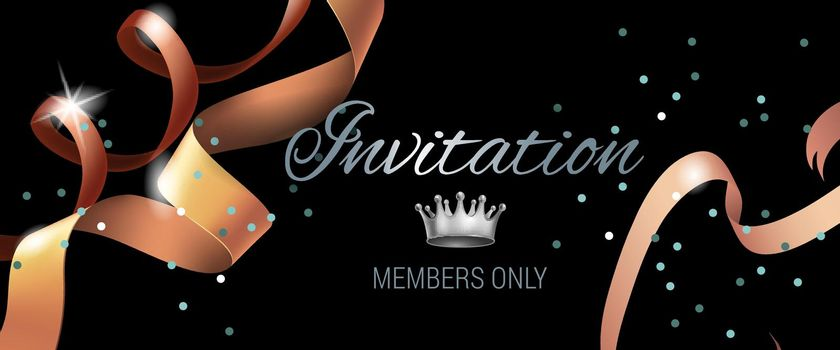 Invitation members only banner design with swirl ribbons