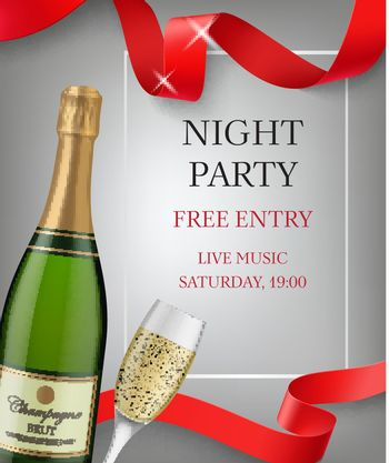 Night party lettering with champagne bottle and goblet