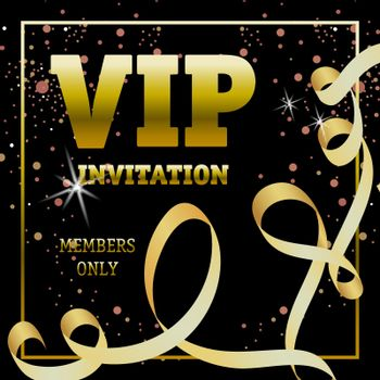 VIP invitation members only banner design with swirl ribbon