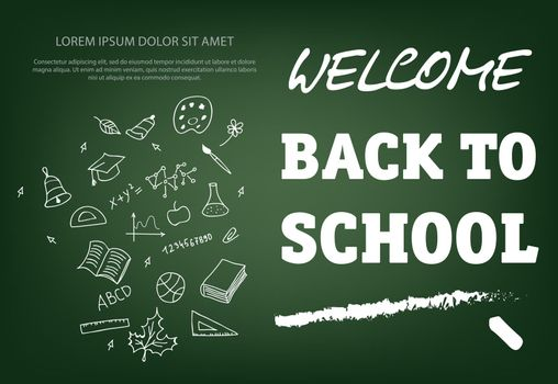 Welcome back to school lettering with chalk stroke