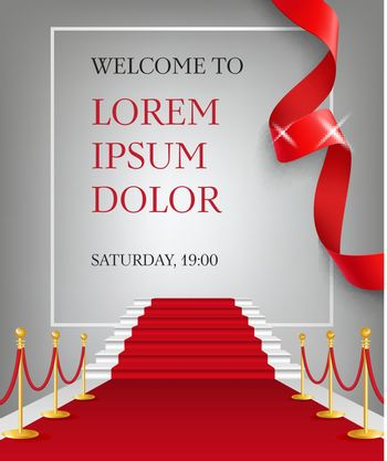 Welcome to lettering with red carpet entrance