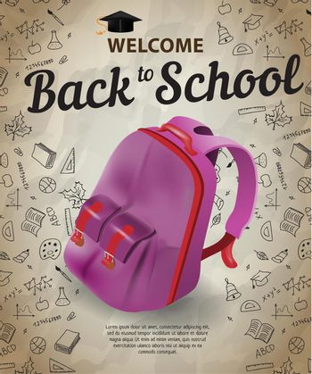 Welcome, back to school lettering and backpack