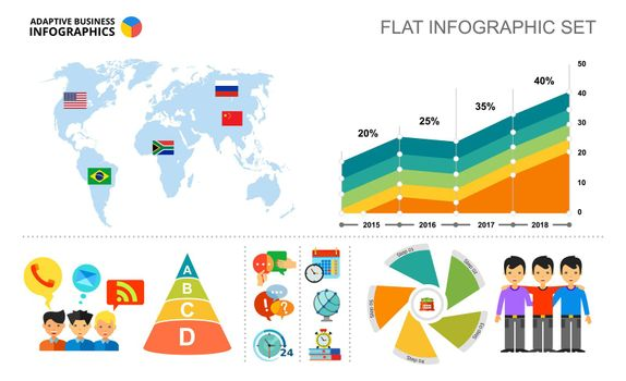 World map and area chart template for presentation