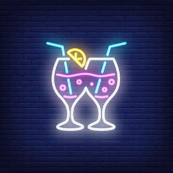 Couple of cocktail glasses. Neon sign element