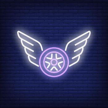Neon icon of flying wheel