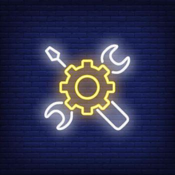 Neon icon of mechanic tools