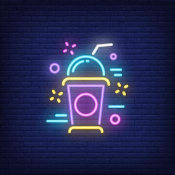 Neon icon of milkshake