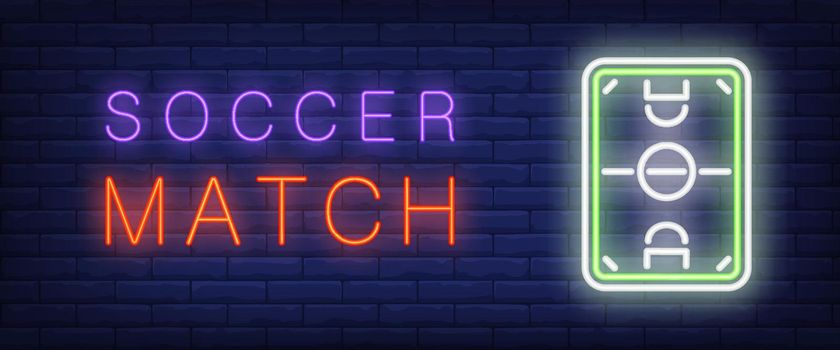 Soccer match neon text with soccer field