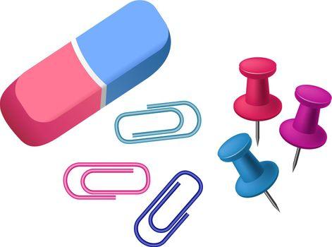 Eraser realistic vector illustration