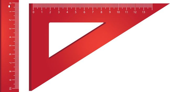 Ruler and triangle realistic vector illustration