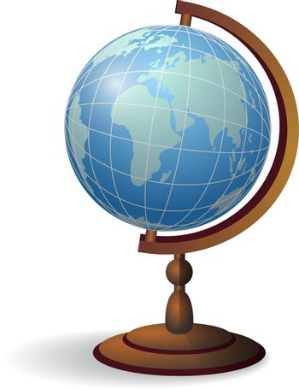 Desktop globe realistic vector illustration