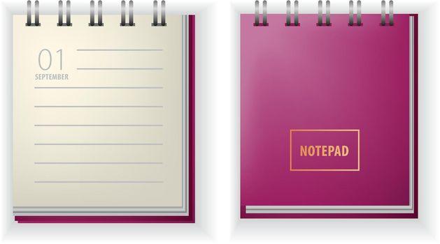 Notepad realistic vector illustration