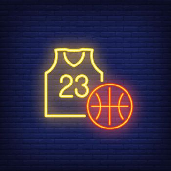 Basketball and jersey neon sign