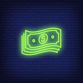 Bundle of dollar bills neon sign