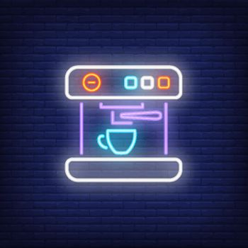 Coffee maker machine with cup neon sign