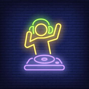 Disk jokey with dj mixer neon sign