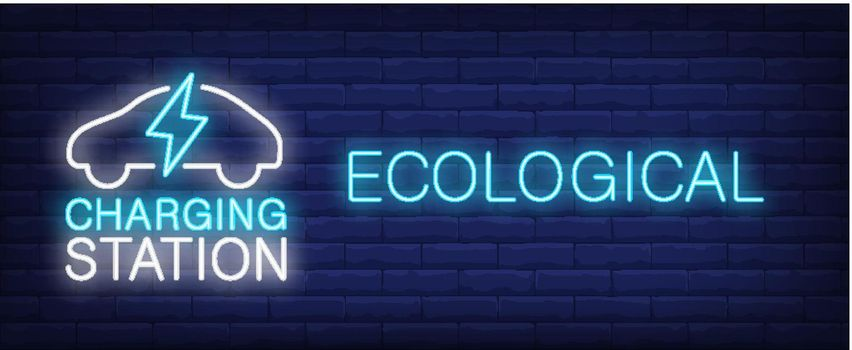 Ecological charging station neon sign