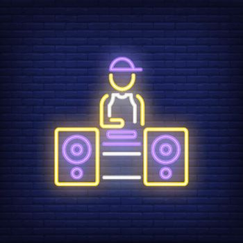Disc jockey neon sign