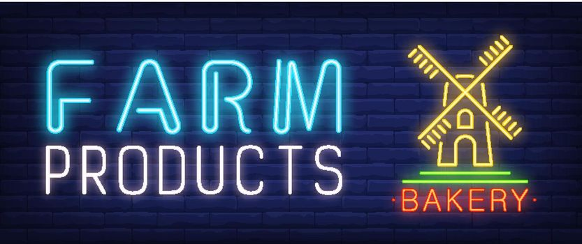 Farm products neon text with wind mill