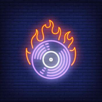 Firing vinyl record neon sign