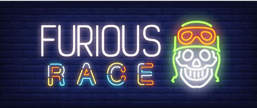 Furious race neon text with skull in helmet