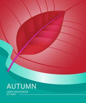 Autumn poster design with leaf shape