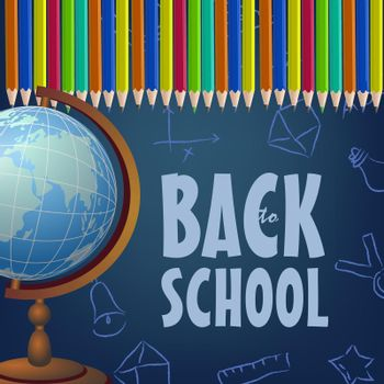 Back to school brochure design with colored pencils, globe