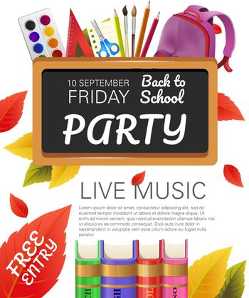 Back to school, free entry party flyer design