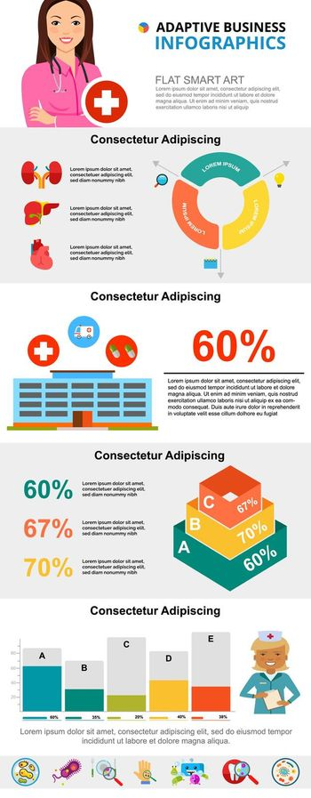 Colorful medicine or healthcare infographic charts set