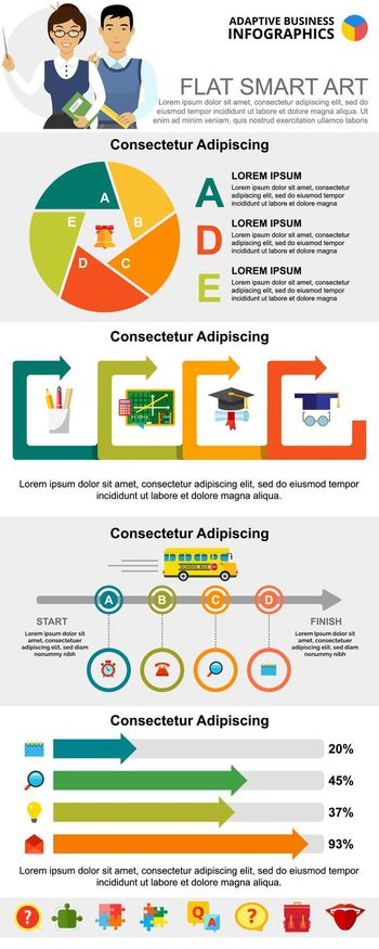 Education and management infographic charts set