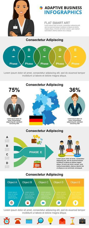 International business and finance infographic charts set
